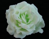 6 PCS. 3.50 inches White Pale Light Green Silk Rose flower Craft and Decoration