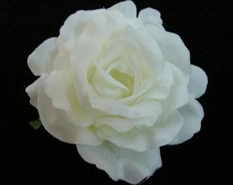 White Silk Rose flower Hair Clip 3 Inch.