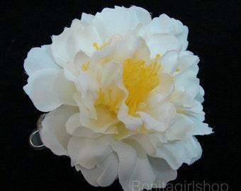 White Peony flower Hair Clip 4.50 Inch.