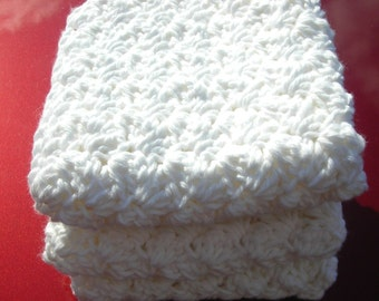 Dishcloths, Crochet, Cotton  Handmade White Crocheted Cotton Washcloth-Set of 3