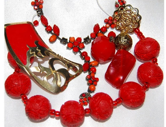 Jewelry Lot Destash 5 pcs Reds Oriental necklace making