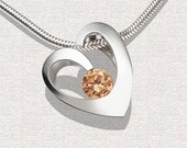 Heart Pendant Argentium Silver and Champagne CZ  - 3447
