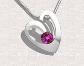 Heart Necklace Heart Pendant Pink Topaz Necklace Pink Topaz Pendant Artisan Jewelry Argentium Silver - 3447