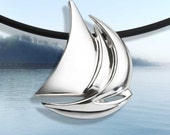 sailboat necklace, sailboat pendant, Argentium silver pendant, nautical jewelry, artisan jewelry, sailboat jewelry, unisex -  2