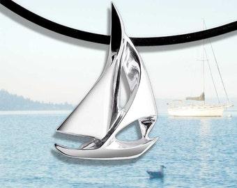 sailboat necklace, sailboat pendant, nautical necklace, silver pendant, eco-friendly, Argentium silver, artisan necklace, unisex necklace