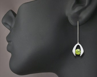 peridot earrings, dangle earrings, August birthstone, eco-friendly,  modern earrings, Argentium silver - 2425