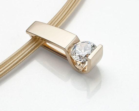 14k gold necklace - gold pendant - CZ - wedding necklace - designer jewelry - 3446