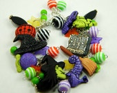 Cute Colorful Good Witch Halloween Beaded Charm Bracelet Bangle