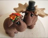 DEPOSIT Custom wedding cake topper Moose Love