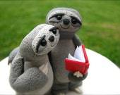 Sloth Love wedding cake topper handmade