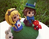Alice in Wonderland Keepsake Wedding Cake Topper