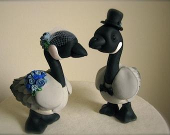 Canadian Geese love custom wedding cake topper handmade