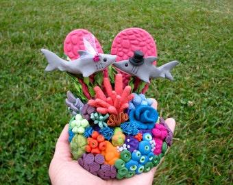 Custom coral shark wedding cake topper handmade