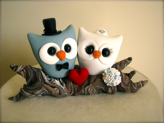 Owl love on a branch custom wedding cake topper