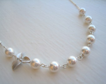 Orchid and Pearls Necklace. Bridesmaid Gift. On Sale