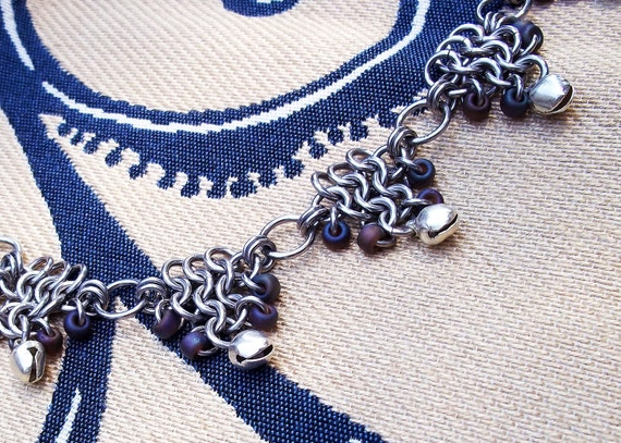 Bacchus Bells chainmaille necklace with seed beads and jingling gypsy bells