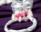 SALE SALE SALE Pink Flower halo, veil, hairpiece, hair wreath for flower girl, garden fairy, dressing up