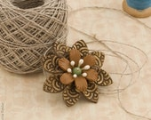 Brown Flower Brooch - Autumn Jewelry, Fall Collection