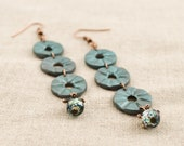 Teal Rustic Earrings - Rustic Jewelry