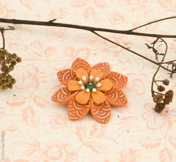 Orange Flower Brooch - Autumn Jewelry, Fall Collection