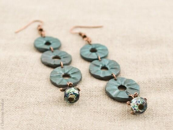 Teal Rustic Earrings - Rustic Jewelry