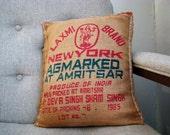 Pillow made from vintage Indian basmati rice sack