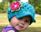 2T-4T Flower Visor Beanie in peacock blue with a bright pink, lime green and light pink flower