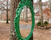 Mirror Vintage Upcycled Syroco in Glossy Green