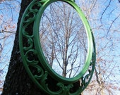 Mirror Vintage Syroco Oval with Scroll Work in Grass Green