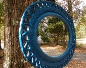 Mirror Syroco Vintage Oval Faux Wicker Frame Upcycled in Teal High Gloss