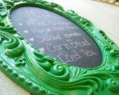 Mirror Frame Vintage Ornate Upcycled Chalkboard in Kelly Green