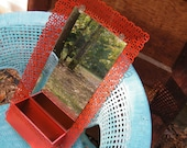 Wall Mirror Vintage Comb and Brush Holder Pierced Metal Upcycled in Sundried Tomato