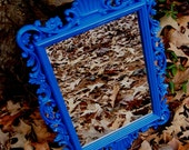 Wall Mirror Ornate Upcycled in Cobalt Blue High Gloss