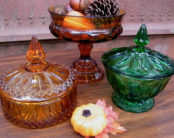Glassware Vintage Instant Collection in Amber and Green Centerpiece