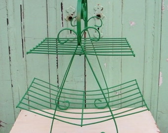 Magazine Rack Vintage Upcycled in Gloss Kelly Green