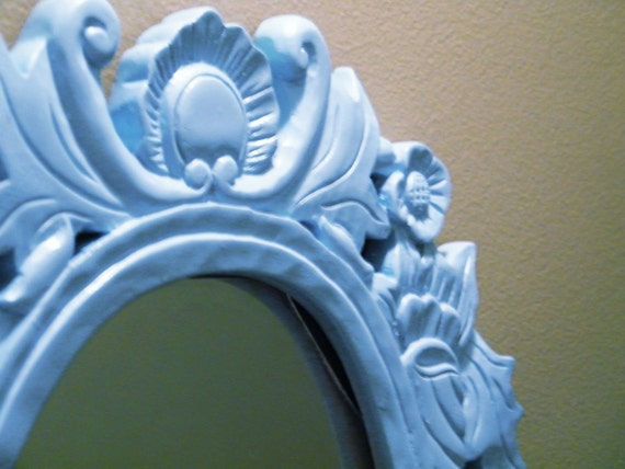 Upcycled Shabby-chic Carved Wooden Mirror in Powder Blue