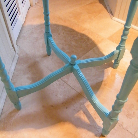 RESERVED for hnokes Table Occasional Vintage in Soft Turquoise