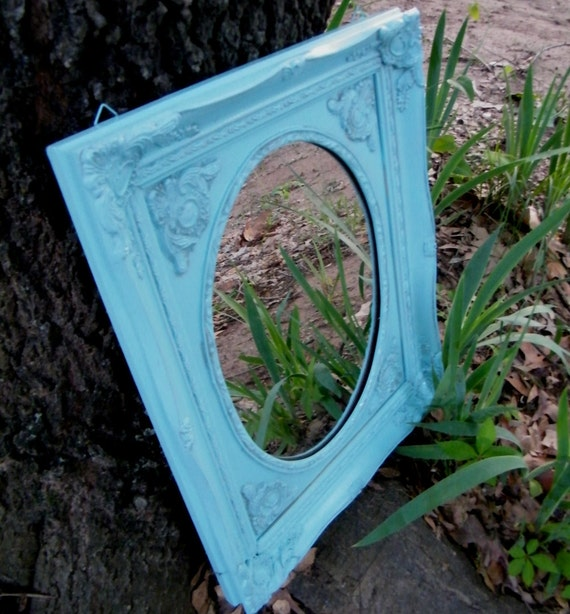 Mirror Vintage Ornate Double Frame Upcycled in Soft Powder Blue