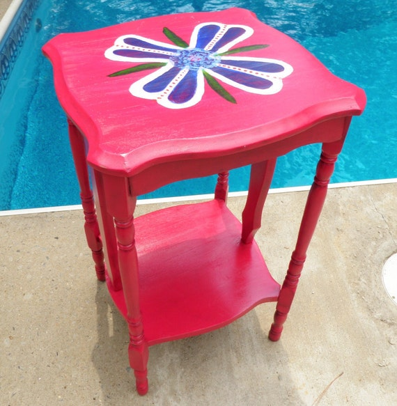 Side Table Night Stand Vintage Wood Upcycled in Rosie Red with Hand Painted Folk Art Style Floral