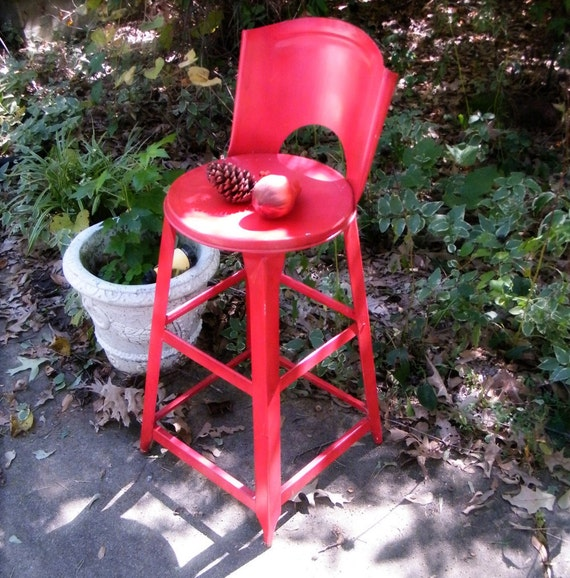 Kitchen Stool Metal Vintage Chippy Red Paint