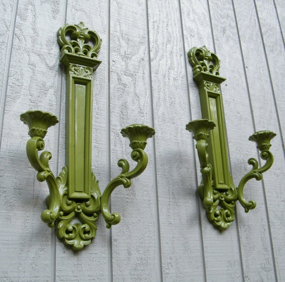 Glossy Crown Wall Decor : Vintage syroco wall sconce hollywood regency pair by