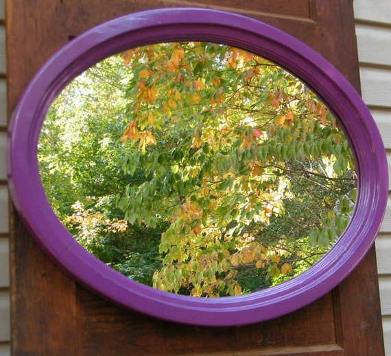 Wall Mirror Vintage Wood Framed Oval Upcycled in Glossy Eggplant