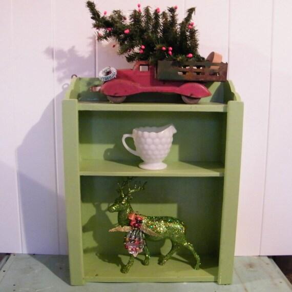 Wall Shelf Vintage Cottage Farmhouse Style in Jadeite Green