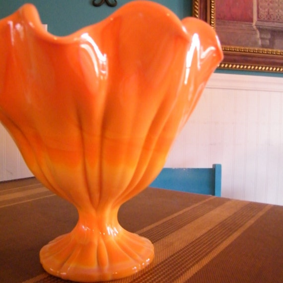 Mid Century Bowl Orange Slag Glass Art Glass