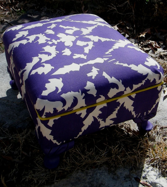 Footstool Ottoman Vintage Upcycled Furniture in Purple