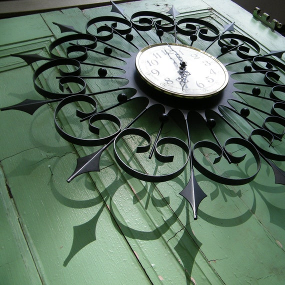 Wall Clock Mid Century Wrought Iron