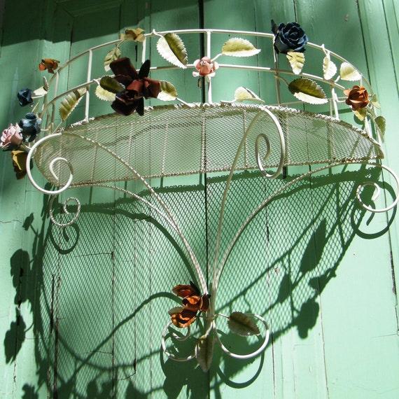 Vintage Italian Tole Demilune Wall Shelf Gorgeous