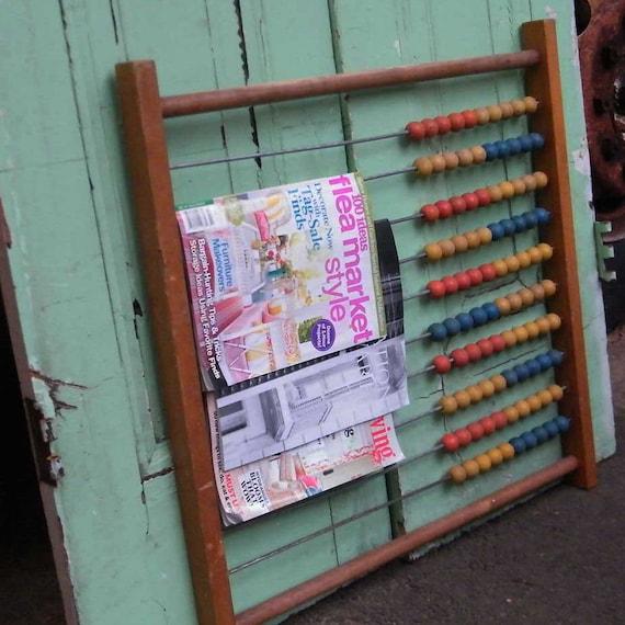 Upcycled Furniture Magazine Rack Vintage Abacus