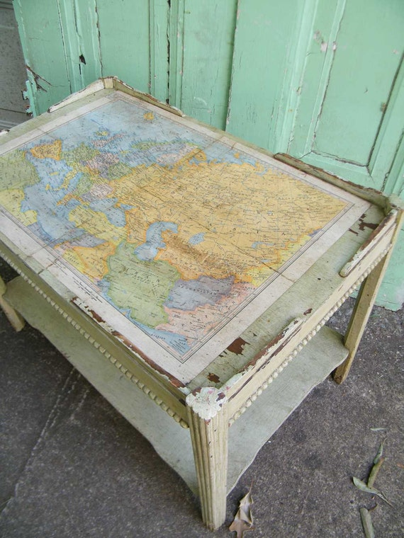 Upcycled Vintage Coffee Table With Map From 1930s