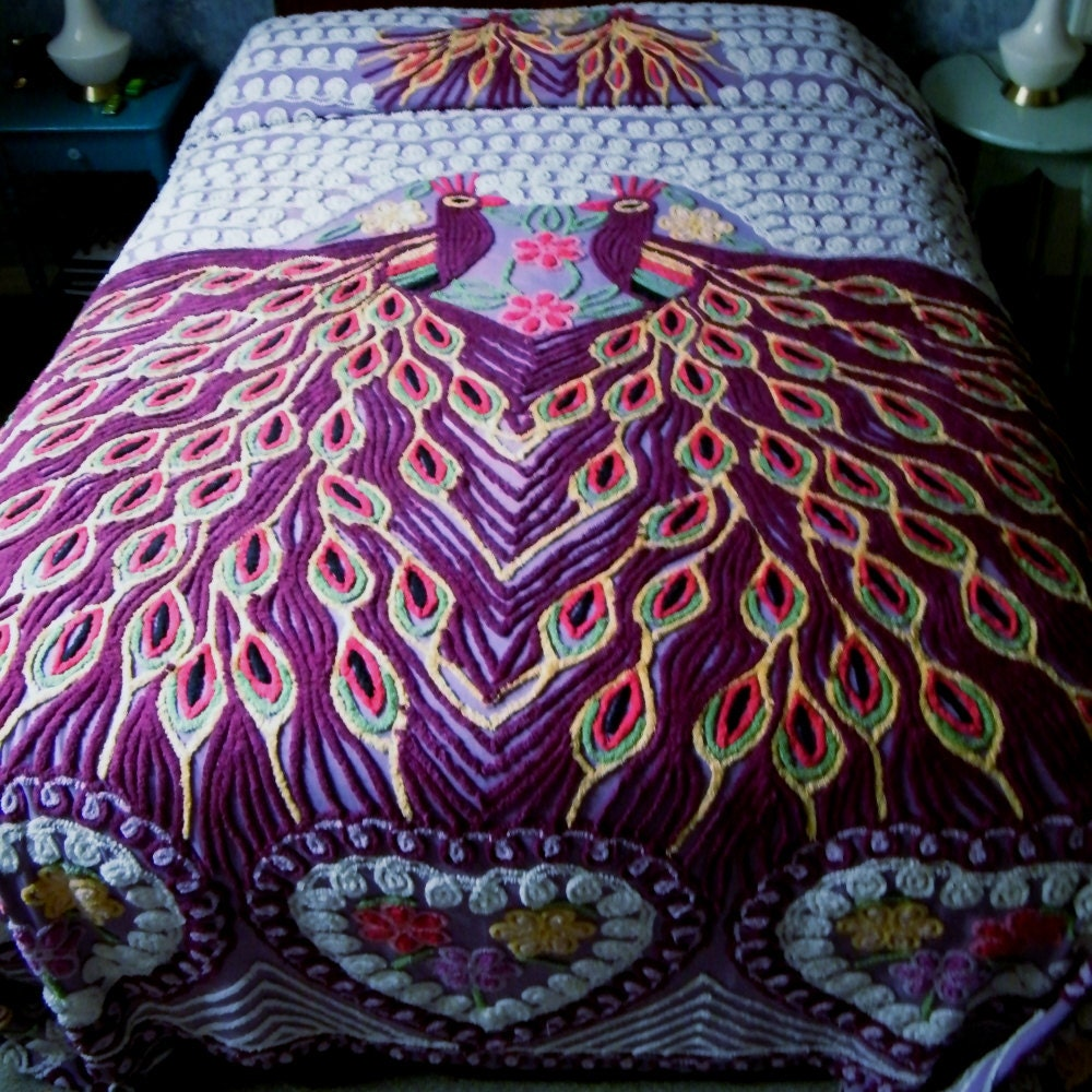 Vintage chenille bedspread peacock queen king size - Peacock bedspreads ...